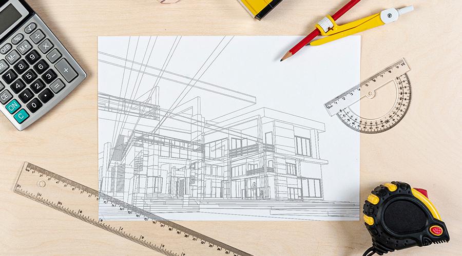 Croquis plan de construction de maison